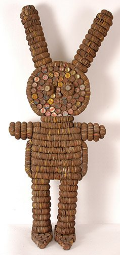 Clarence and Grace Woolsey, Bottle Cap Man,folk art outsider art