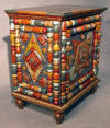 End Table, tramp art furniture folk art hand made furniture art furniture